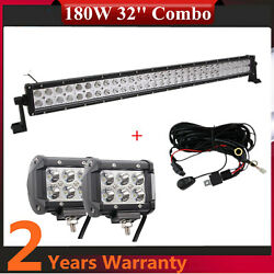 32inch 180w Led Work Light Bar Combo Ford Chevy Bumper Tractor +18w Wiring Top