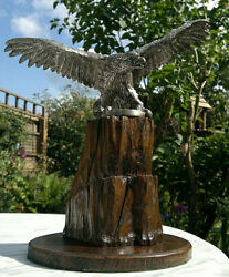 Large C1920s Silvered Bronze Eagle Car Mascot Hood Ornament On Carved Wood Stand