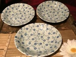 3 Asian Porcelain Bowls Blue And White Floral Vine 8x1 1/2 Marked