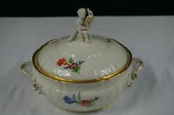 Kpm Rocaille Decor 36 Floral Butterflies Round Covered Vegetable Dish