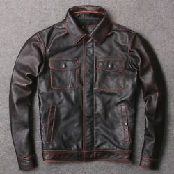 Mens Long Sleeve Cargo Jacket Real Leather Luxury Motorcycle High End Lapel New