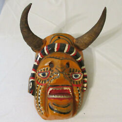 Guatemala Carved And Painted Wood Dance Diablo Devil Mask With Snake And Goat Horns