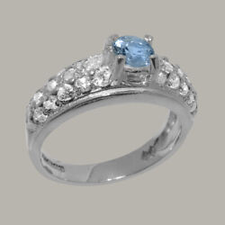 Solid 18k White Gold Natural Aquamarine And Cz Womens Band Ring - Sizes J To Z