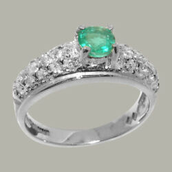 Solid 18k White Gold Natural Emerald And Diamond Womens Band Ring - Sizes J To Z