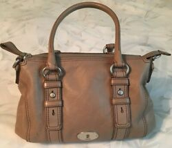 Fossil Taupe Leather Maddox Satchel Purse Bag-very Nice
