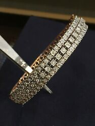 Pave 1.05 Cts Round Brilliant Cut Diamonds Hinged Bracelet In 585 Solid 14k Gold