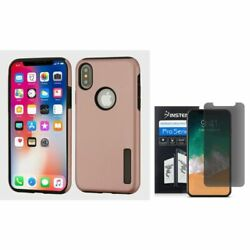 For iPhone XS/X Hybrid PC/TPU Rubber Case Rose Gold/Black w/Screen Privacy Guard