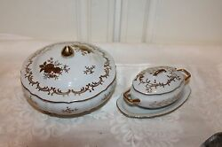 2 Lefton China Hand Painted 3549/5723 White Dish With Lid, Gold Gilt