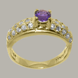 Solid 18k Yellow Gold Natural Amethyst And Diamond Womens Band Ring - Sizes J To Z