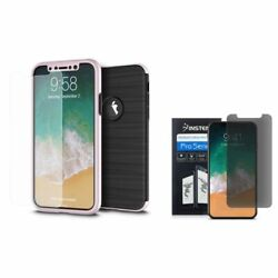 For iPhone X/XS Hybrid Brushed PC/TPU Rubber Case Cover with Privacy Screen Film