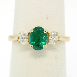 14k Solid Yellow Gold 1.03ctw Three Stone Prong Set Oval Emerald And Diamonds Ring