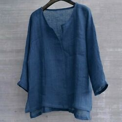 Menand039s Summer 3/4 Sleeve Tops V Neck Shirts Loose Casual Thin Blouses Tank Cotton