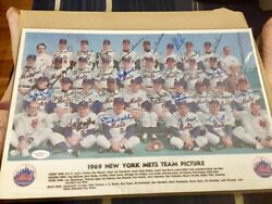 New York Mets Team Signed Autographed 1969 Photo Plaque Inperson Coa Free Ship