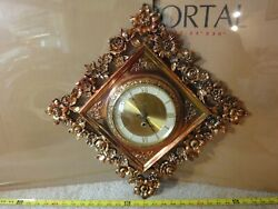 Rare Vintage Syroco Wall Clock. Gilded Gold Tone Wooden Floral Frame. Works