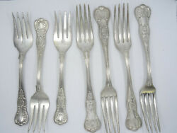 7x Antique Reed And Barton Kings Pattern Fork / Salad Fork Property Ny State