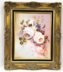 ❤ Vintage Grace Nelson Shabby Cottage Chic Rose Canvas Oil Painting Gold Frame ❤