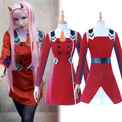 Darling In The Franxx 02 Zero Two Outfit Uniform Cosplay Costume Bodysuit Dress