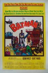 BATMAN 1966 one sheet movie poster 27x41 ADAM WEST LINEN BACKED