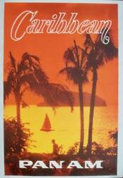 Pan Am Airways Airlines Caribbean Vintage Travel Poster 1969 28x42 Nm Linen