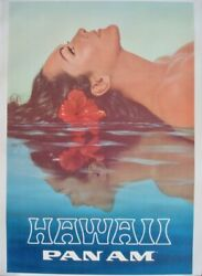 Pan Am Airways Airlines Hawaii Vintage Travel Poster 1969 28x42 Nm Linen