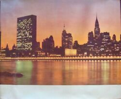 Pan Am Airways Airlines Usa New York Vintage 1966 Travel Poster 34.5x44 Rare