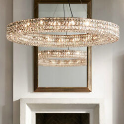 Ring Chandelier Round Clear Crystal Suspension Modern Lighting Pendant Lamp