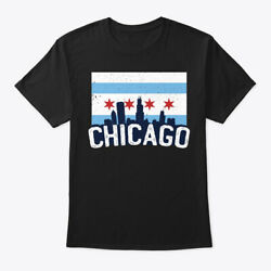 Cool Chicago Flag Skyline Illinois Gift Hanes Tagless Tee T-Shirt $18.99