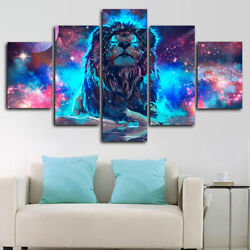 Framed Lion Artistic Colorful Galaxy Stars 5 Piece Canvas Print Wall Art Decor
