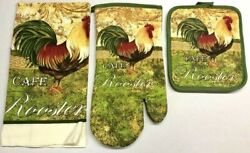 3 Pc Kitchen Dish Hand Towel Pot Holder Oven Mitt Set Home Cotton Cafe Rooster
