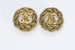 Paris Cc 1980's Gold Plated Woven Rope Earrings