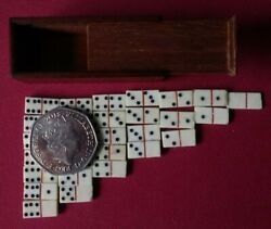 Antique Vintage Game Toy Miniature / Tiny Dominoes + Perfect Little Hardwood Box