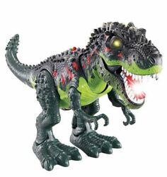 Light Up T Rex Walking Dinosaur Kids LED Toy Figure Sounds Real Movement CoLOR V $21.99