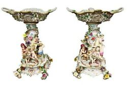 Pair of 19th Century Meissen Porcelain Gorgeous Vases 1880s