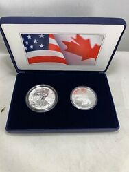 2019 Us Mint And Royal Canadian Mint 2 Oz Silver Pride Of Two Nations Silver Eagle