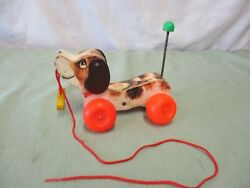 Vintage Fisher Price Pull Toy Wood Little Snoopy Dog 693 Yellow Shoe Spring Tail