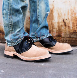 Mens Retro Lace Up Ankle Short Boots Low Heel Real Suede Motor Casual Shoes Hot