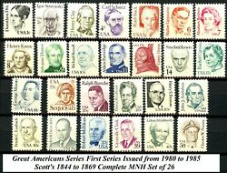 Great Americans 1st Issues 1980 - '85 Complete Set of 26 Scotts 1844 to 1869 MNH