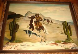 Large Rare Old Hand Done Oil Painting Of Buffalo Bill On Horse By Willie Terry