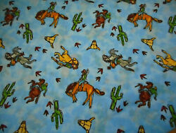 Western Fabric By The Yard Cowboys With Hats amp; Boots Horses on Blue Quilt Cotton
