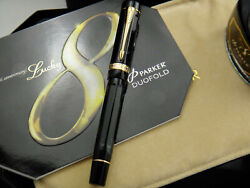 Parker Duofold Black And Pearl Lucky 8 Limited Edition Fountain Pen 434/3888 M