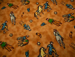 Western Fabric By The Yard Cowboy Horse Boots Hats Badges Brown Quilting Cotton