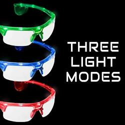 Lumistick LED Flashing Sports Sunglasses Light Up Glowing Party Fashionable Lot