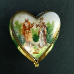 Vtg. Hand Painted Porcelain Heart Shaped Trinket Box Courting Couple Valentineand039s