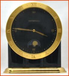 And Co. Heavy Brass Desk Clock 640 With Moon Phase Very Nice And Working