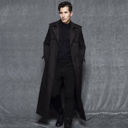 Menand039s Trench Jacket Overcoat Long Dust Coat Business Double Breasted British New