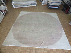 13 X 13 Square Hand Knotted Taupe Vintage Turkish Oushak Oriental Rug G7318