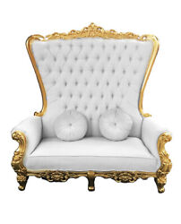 Double High Back Chair Queen Throne In White Leather Gold Frame