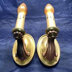 Wired Pair Antique Brass Sconces Electric Candles Rewired 78e