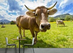 3d Swiss Brown Cow Horn O184 Animal Wallpaper Mural Self-adhesive Removable Amy