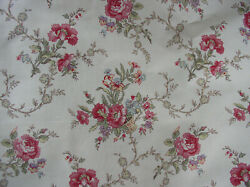 American Folk And Fabric Cotton Antique French Red Roses Basket Tina Floral Bty